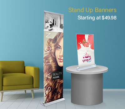 Stand Up Banners at Eastvale Graphics start at 49.98